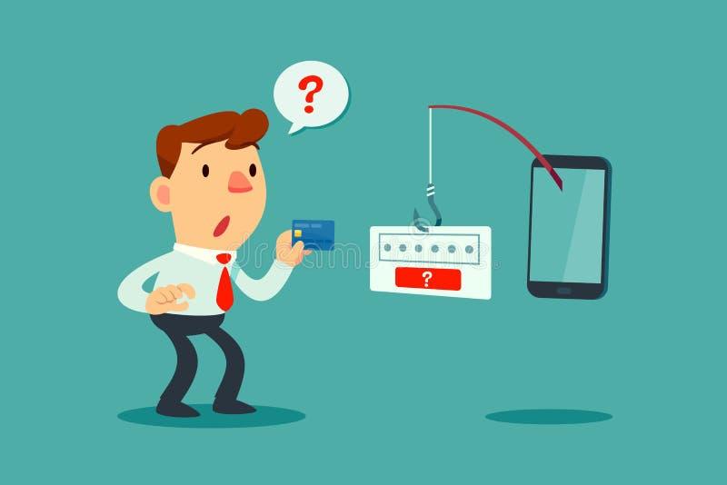 Affärsmannen får förvirrad vid metspöet från den smarta telefonen royaltyfri illustrationer