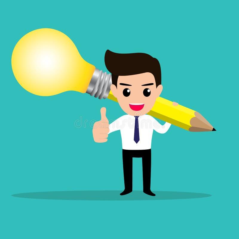Affärsmannen får idé från hans lightbulbblyertspenna stock illustrationer