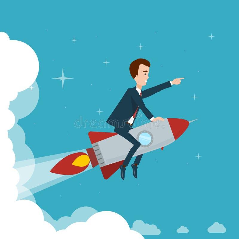 Affärsmannen flyger på en raket till och med molnen mot bakgrunden av stjärnahimlen royaltyfri illustrationer