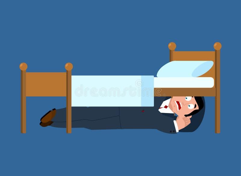 Affärsmannen fruktar nederlag under säng Skräckillustration stock illustrationer