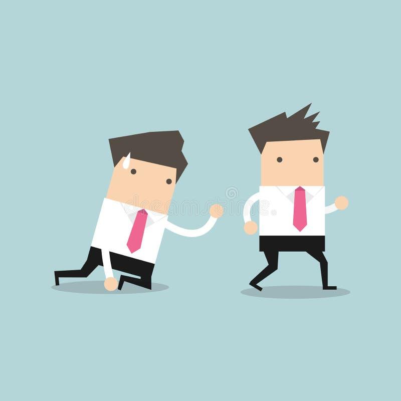 Affärsmannen går i väg från coworkerkrypning på golvet och att kalla ut för hjälp stock illustrationer