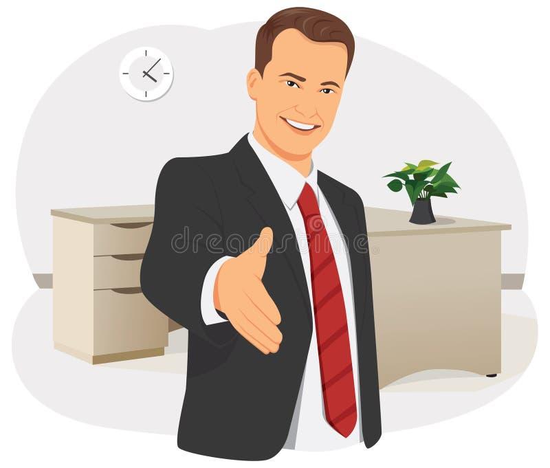 Affärsmannen ger handen royaltyfri illustrationer