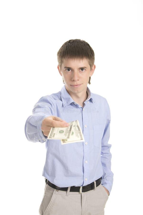 Affärsmannen ger pengar fotografering för bildbyråer