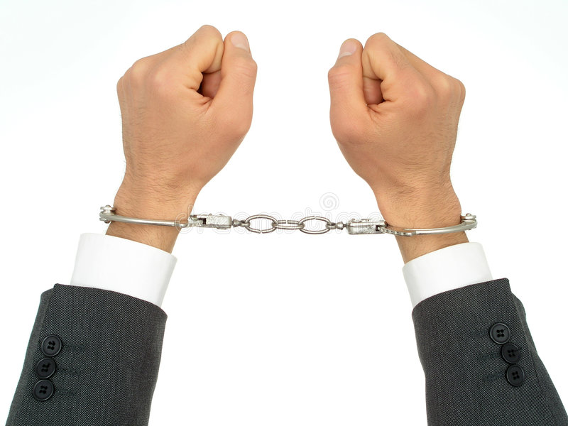 affärsmannen handfängslar händer s arkivbild