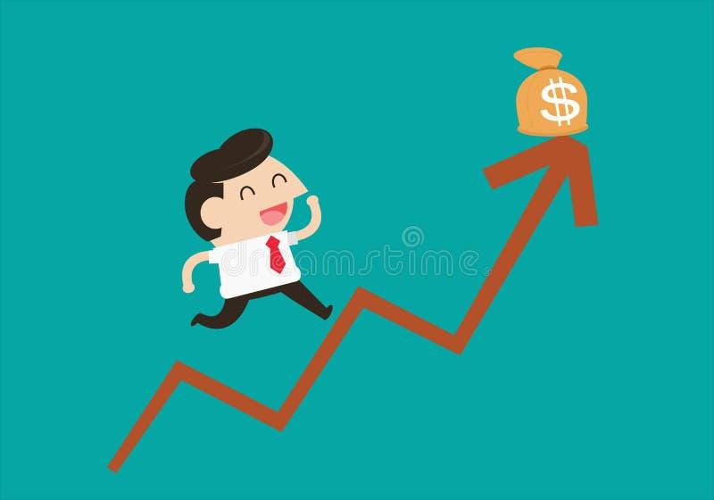 Affärsmannen hoppar i en tillväxt vektor illustrationer