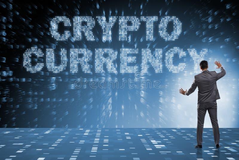 Affärsmannen i blockchaincryptocurrencybegrepp arkivbild