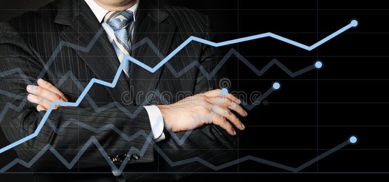 Affärsmannen i en dräkt med hans handarmar korsade att se på graf och tänker strategi arkivbilder