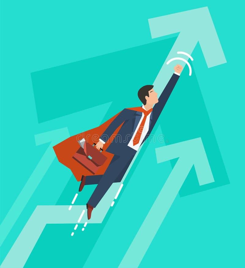Affärsmannen i en dräktsuperhero flyger upp Ledarskap och affärstillväxtbegrepp Plan design också vektor för coreldrawillustratio royaltyfri illustrationer