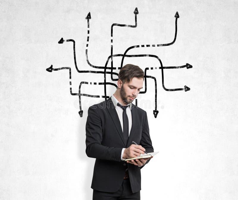 Affärsmannen i en svart dräkt med ett anteckningsbokanseende nära en betongvägg med tilltrasslade pilar skissar på den fotografering för bildbyråer