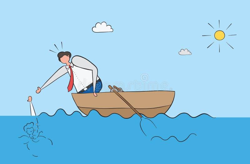 Affärsmannen i fartyget sparar hans vän som drunknade i havet vektor illustrationer