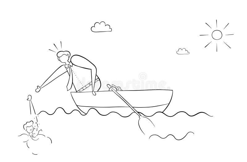 Affärsmannen i fartyget sparar hans vän som drunknade i havet royaltyfri illustrationer