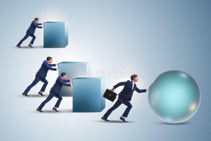 Affärsmannen i rivaler för stryk för konkurrensrivalitetbegrepp arkivfoton
