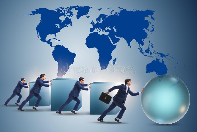 Affärsmannen i rivaler för stryk för konkurrensrivalitetbegrepp arkivbilder