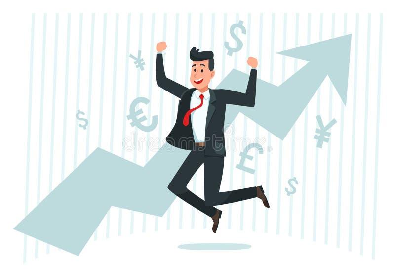 Affärsmannen jublar i tillväxt Lyckad finansaffär, växande inkomst och illustration för vektor för pildiagramgraf vektor illustrationer