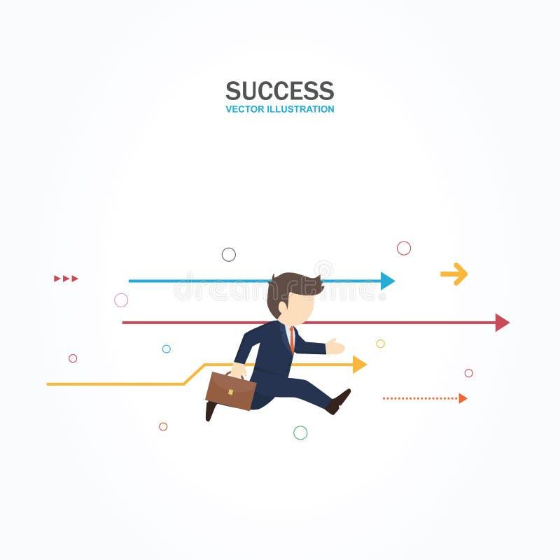 Affärsmannen kör framåtriktat till framgång royaltyfri illustrationer