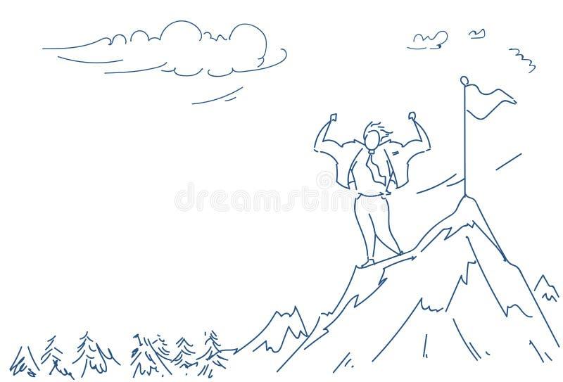 Affärsmannen klättrade begrepp för seger för framgång för punkt för överkant för man för affär för bergflaggaledare som den manli royaltyfri illustrationer