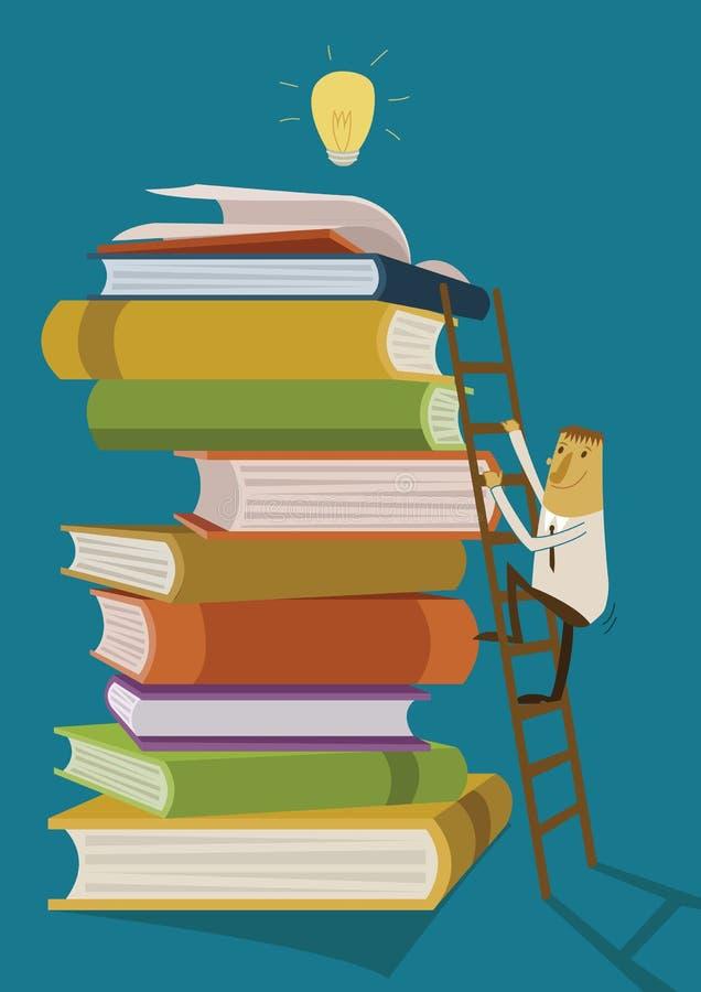 Affärsmannen klättrar stegen för fyndidéer bildar upp böcker stock illustrationer