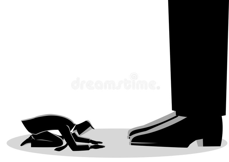 Affärsmannen knäfaller ner under jätte- fot stock illustrationer