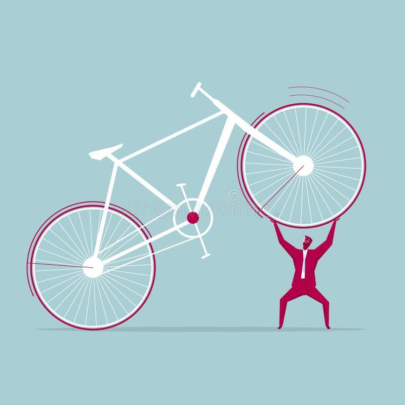 Affärsmannen lyfter cykeln stock illustrationer