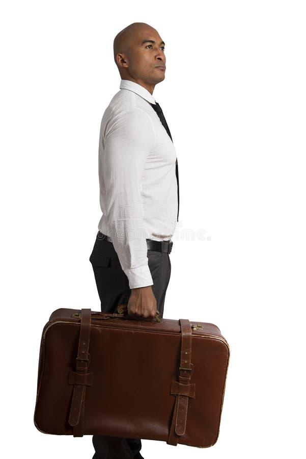 Affärsmannen måste välja mellan olika destinationer begrepp av den svåra karriären royaltyfria foton