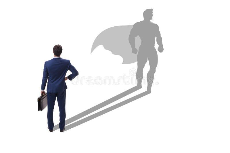 Affärsmannen med ambition av den passande superheroen arkivbild