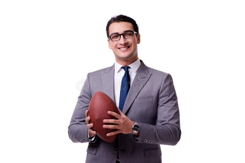 Affärsmannen med amerikansk fotboll som isoleras på vit royaltyfri foto