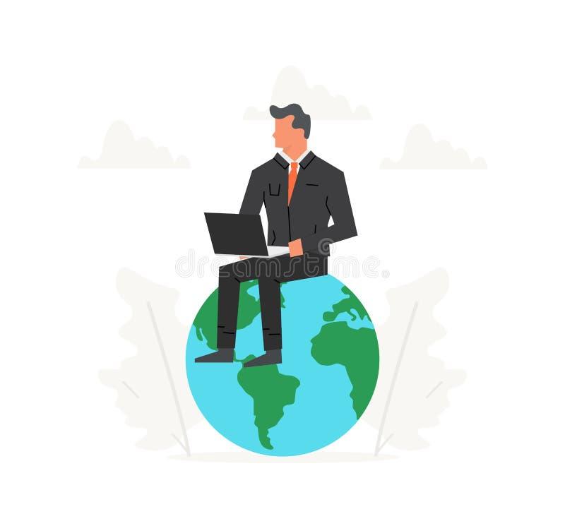 Affärsmannen med bärbara datorn sitter på en stor planet Framgång ledarskap, prestationmålbegrepp Startup affär royaltyfri illustrationer