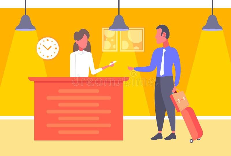 Affärsmannen med bagage som tar tangenter affärs som, mannen ankommer till hotellet, kontrollerar i kvinnareceptionistregistrerin stock illustrationer