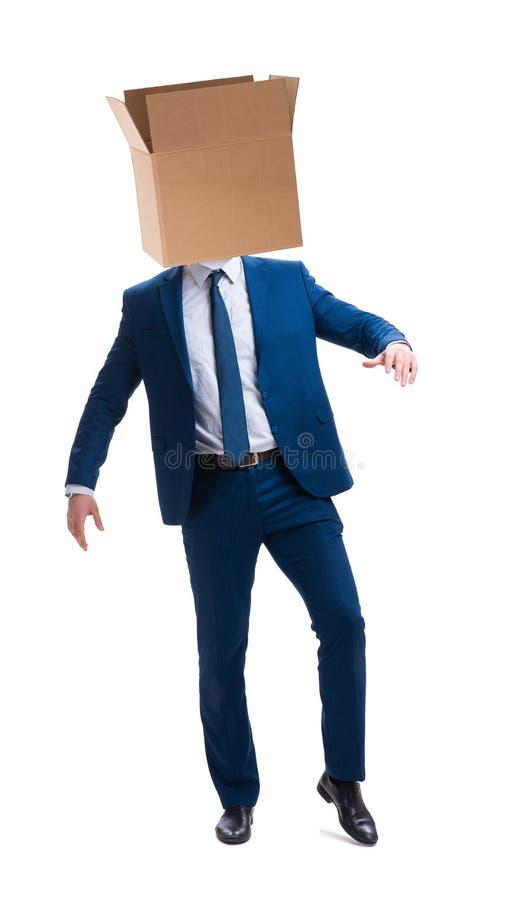 Affärsmannen med den tomma asken på hans huvud arkivfoto