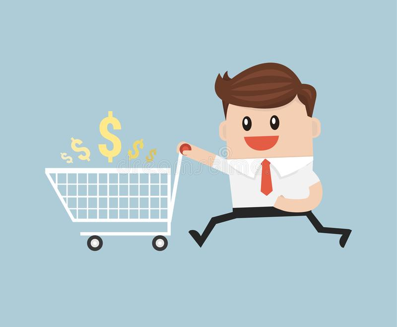 Affärsmannen med den tomma shoppingvagnen, ordnar till för att shoppa vektor illustrationer
