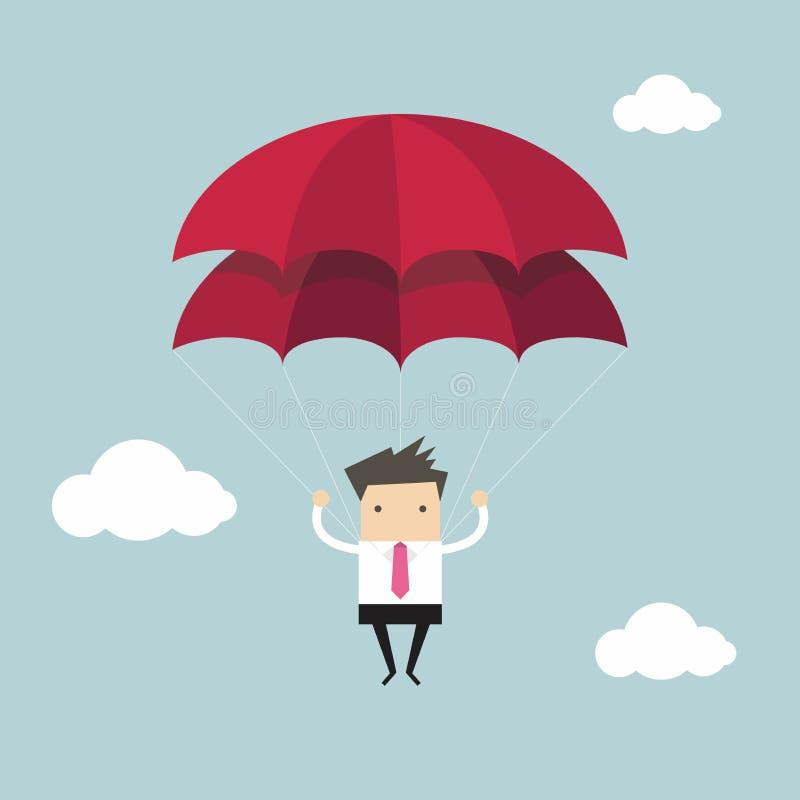 Affärsmannen med hoppa fallskärm i himlen vektor illustrationer