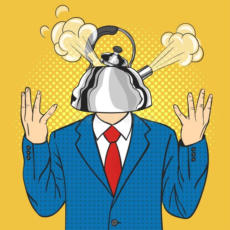 Affärsmannen med kokkärlet i stället för ett huvud med en ånga drog ut från locket stock illustrationer