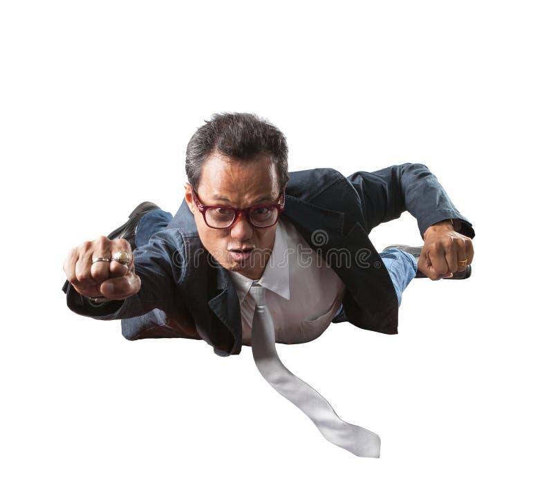 Affärsmannen med roligt framsidaflyg isolerade vit bakgrund royaltyfri foto