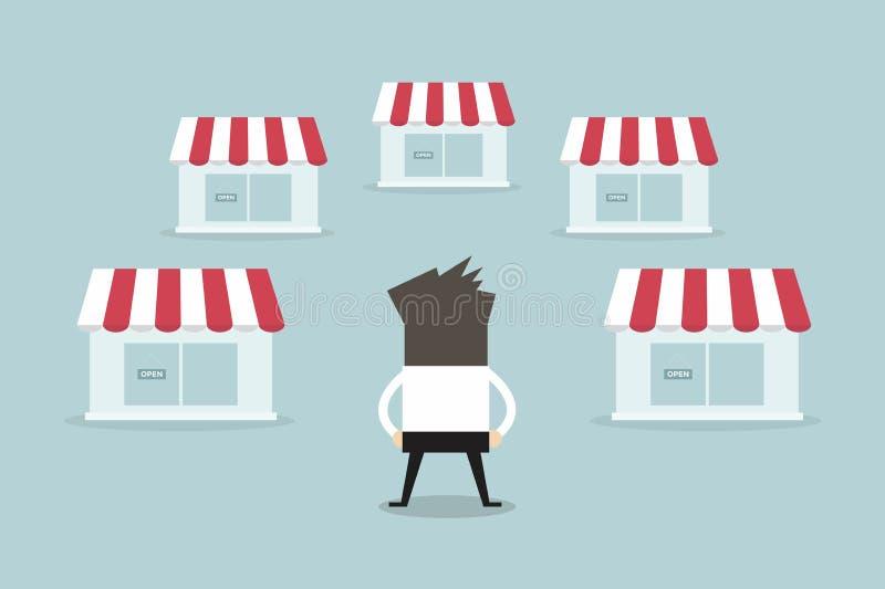 Affärsmannen med shoppar koncessionbegrepp äganderätt för home tangent för affärsidé som guld- ner skyen till Plan design royaltyfri illustrationer