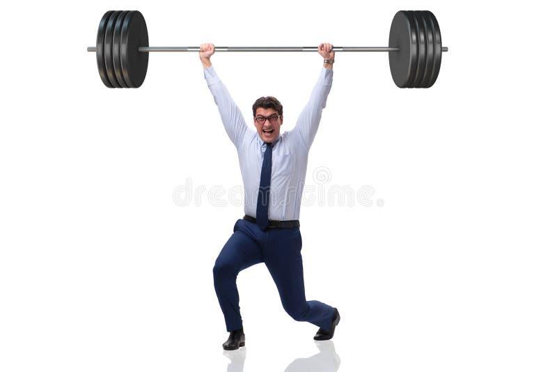 Affärsmannen med skivstången i tungt lyftande begrepp arkivfoto