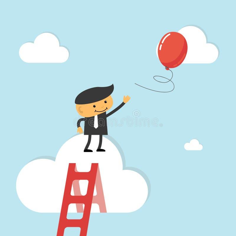 Affärsmannen når ut för ballong royaltyfri illustrationer