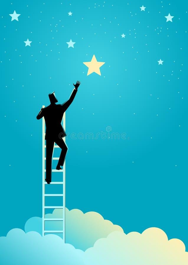 Affärsmannen når ut för stjärnorna stock illustrationer