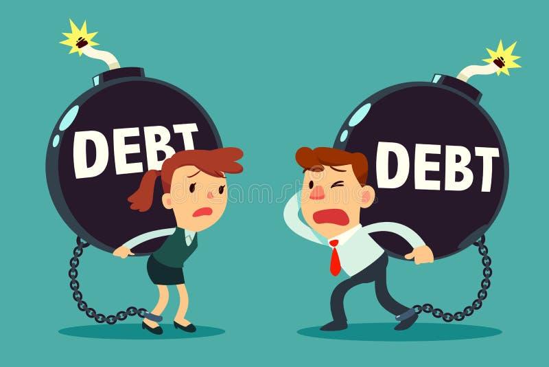 Affärsmannen och affärskvinnan bär skuldtid bombarderar stock illustrationer