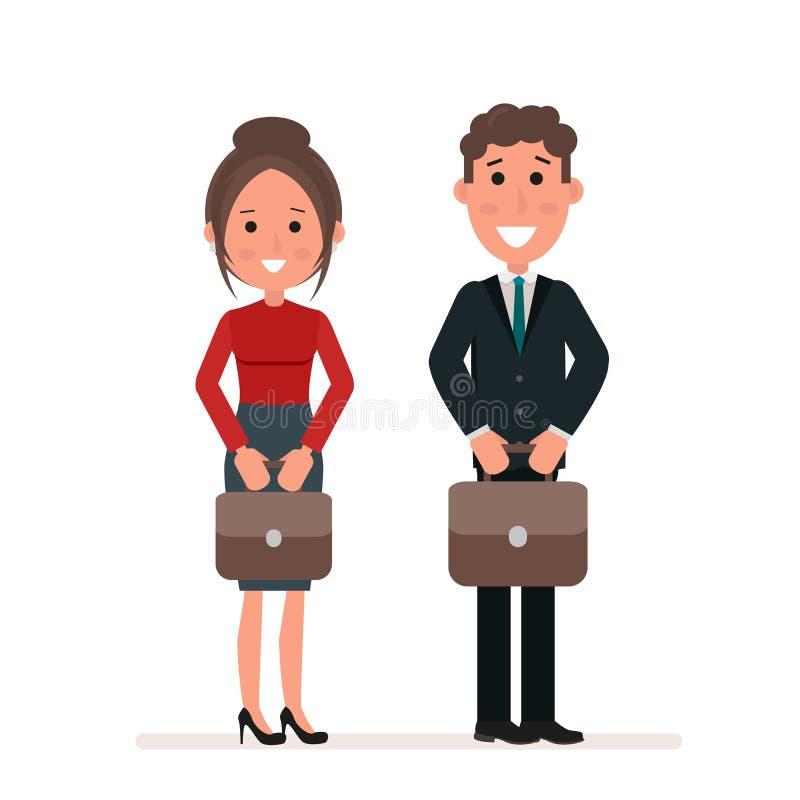 Affärsmannen och affärskvinnan eller chefer står med resväskor i deras händer arms för forgroundman för bakgrund skäggiga korsade royaltyfri illustrationer