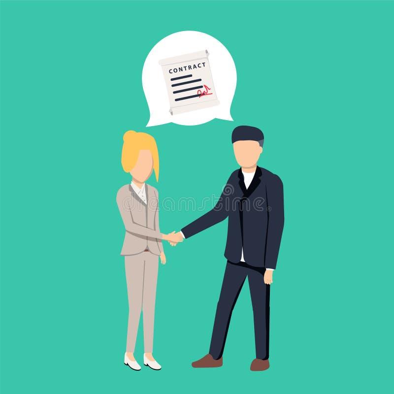 Affärsmannen och affärskvinnan som skakar handen och, instämmer för att underteckna avtalet efter lyckad affärsdiskussion vektor illustrationer