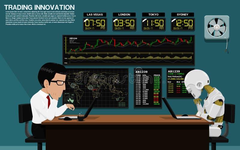 Affärsmannen och roboten handlar tillsammans stock illustrationer