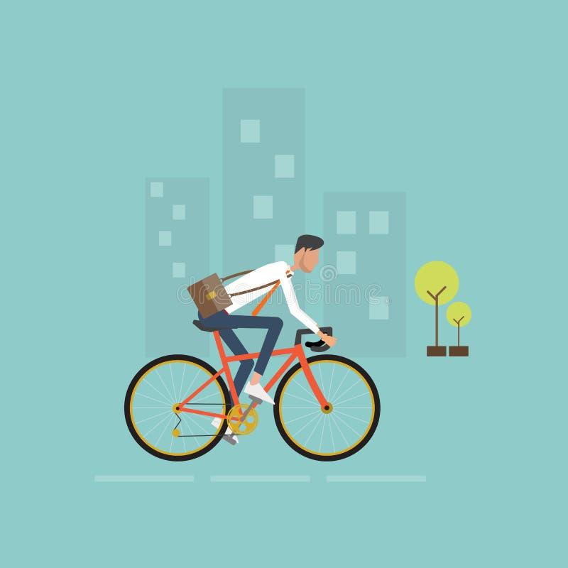 Affärsmannen på cykeln går att arbeta i stad slappt trevligt sparande för energiillustration vektor illustrationer