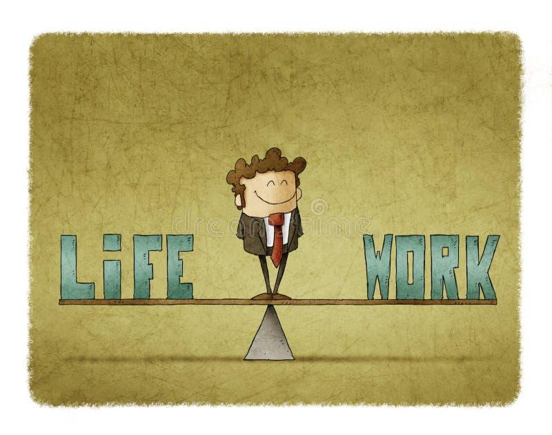 Affärsmannen på en skala, som var i, orden arbetar och liv stock illustrationer