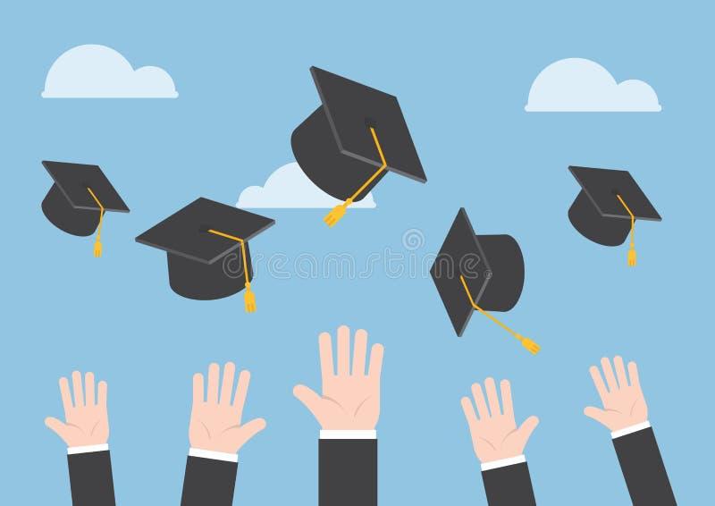 Affärsmannen räcker att kasta avläggande av examenhatten i luften royaltyfri illustrationer