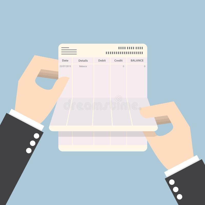 Affärsmannen räcker den hållande bankboken med ingen jämvikt stock illustrationer