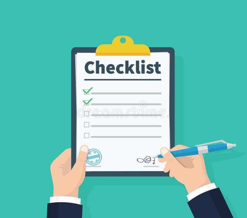 Affärsmannen räcker den hållande skrivplattakontrollistan med pennan Kontrollista färdiga uppgifter, bråklista, granskning, exame royaltyfri illustrationer