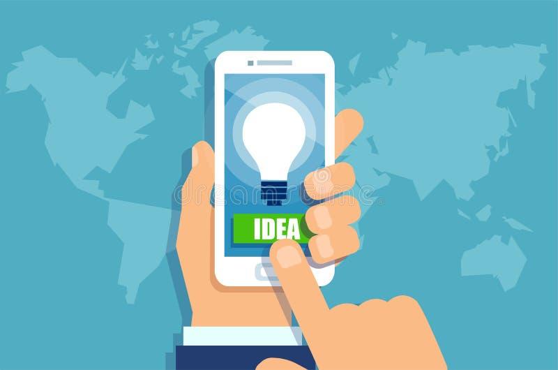 Affärsmannen räcker den hållande smartphonen med den ljusa kulan för den ljusa idén på skärmen royaltyfri illustrationer