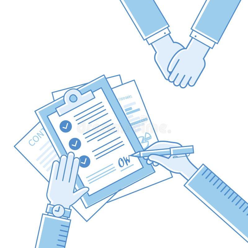 Affärsmannen räcker innehavavtalet, underteckning av a royaltyfri illustrationer