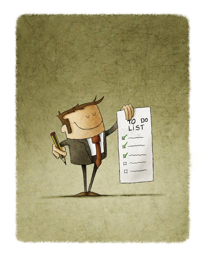 Affärsmannen rymmer i hans hand en bråklista och i den annan handen en blyertspenna royaltyfri illustrationer