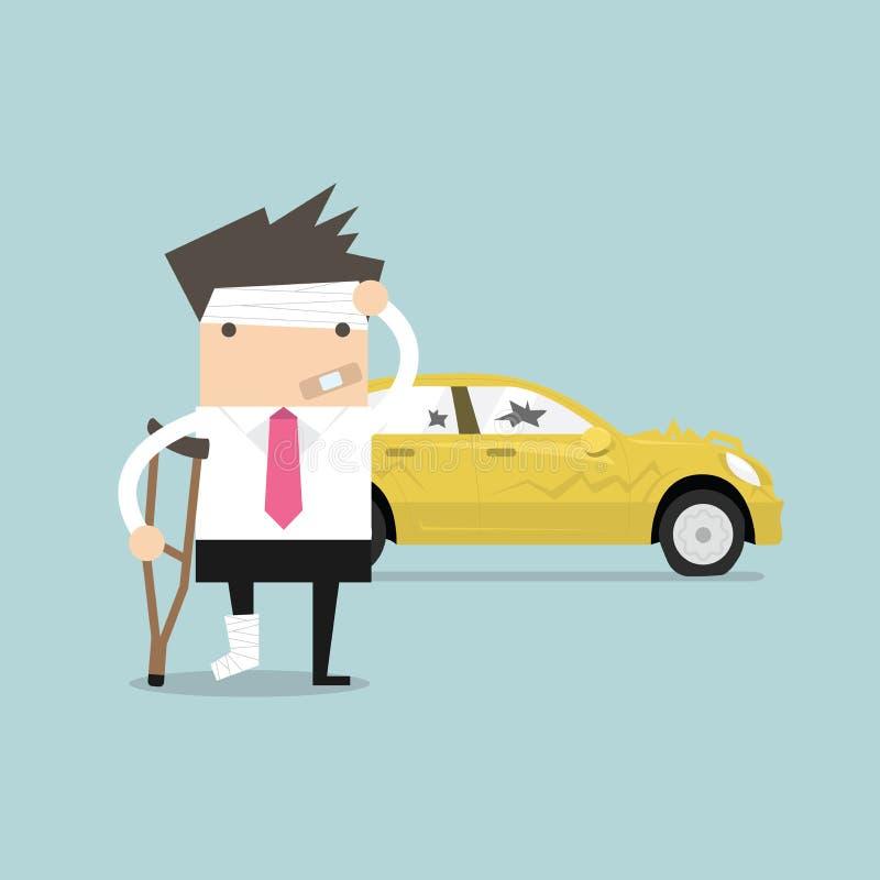 Affärsmannen såras med bilolycka vektor illustrationer